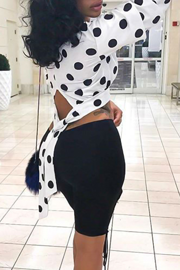 Trendy Round Neck Polka Dot  Printed Hollow-out White Polyester Shirts