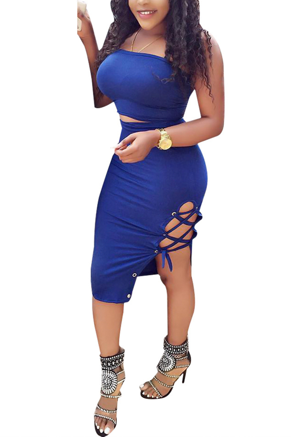 Sexy Dew Shoulder Lace-up Hollow-out Blue Milk Fiber Two-piece Skirt Set