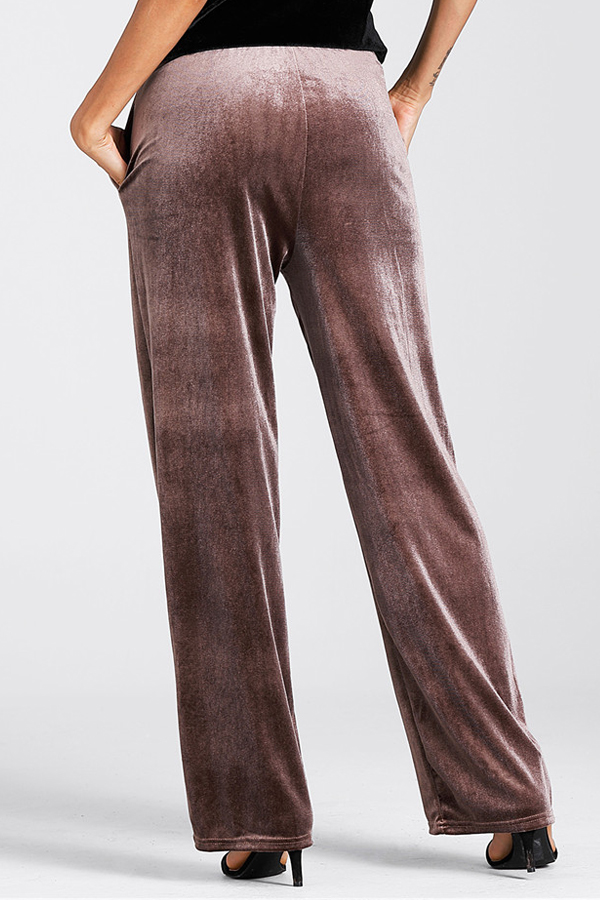 Euramerican Elastic Waist Coffee Pleuche Pants