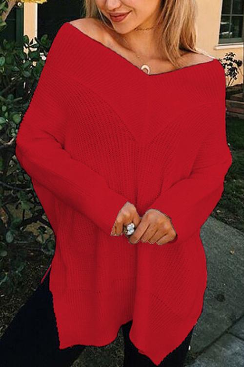 Досуг V шеи с длинными рукавами сторона сплит красный хлопок рубашки