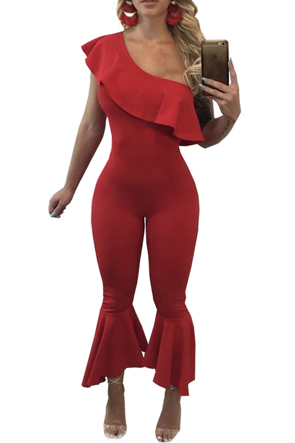 Trendy Dew Shoulder Falbala Design Red Polyester One-piece Jumpsuits