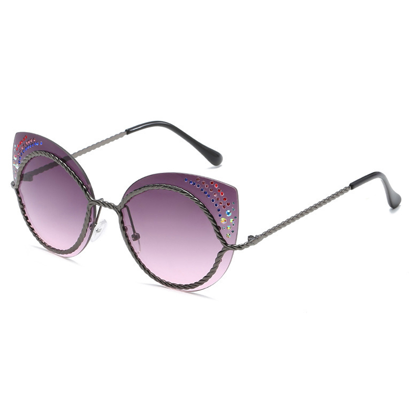 Euramerican Rhinestone Decorative Grey Plastic Sunglasses