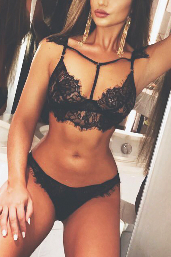 Sexy Lace Trim Patchwork Black Bra Set
