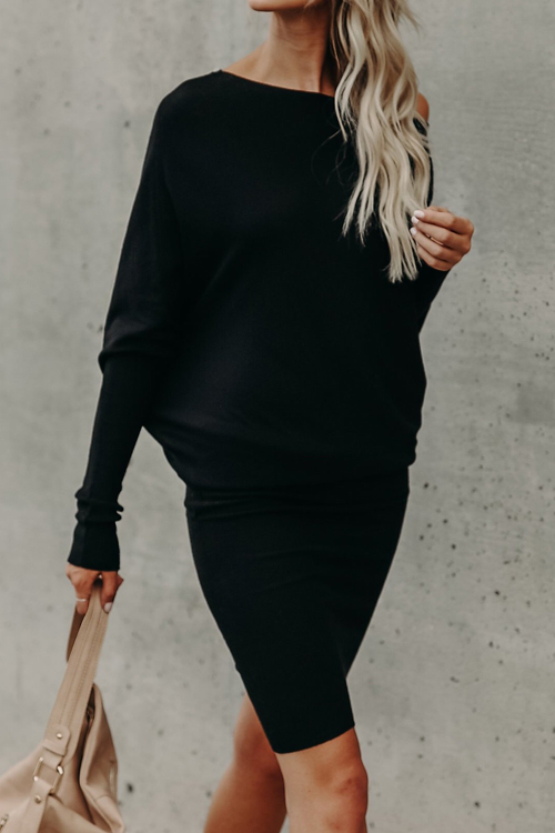 Lovely Leisure Dew Shoulder Black Cotton Blend Knee Length Dress