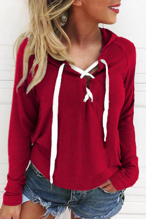 Freizeit mit langen Ärmeln Schnürung rot Polyester Hoodies
