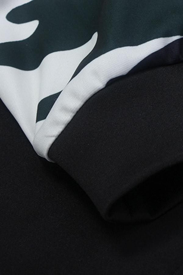 Freizeit V-Ausschnitt Reißverschluss Design schwarz Polyester Mantel