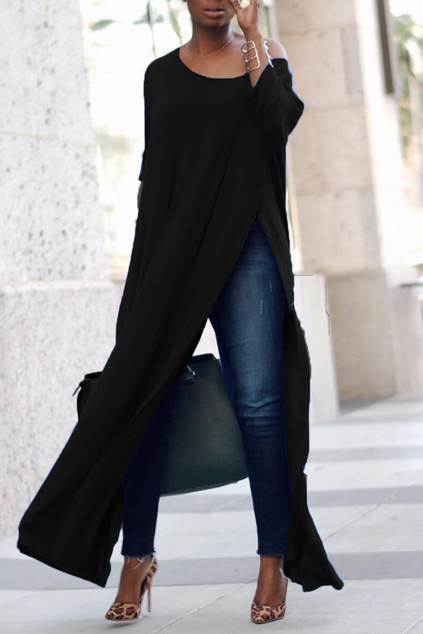 Досуг шею высокой Сплит черные хлопчатобумажные рубашки