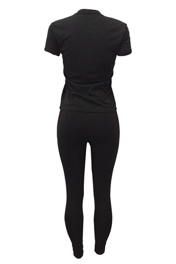Leisure Round Neck Printed Black Knitting Two-piece Pants Set