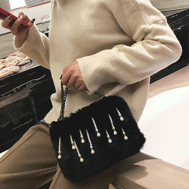 Fashion Pearl Decorative Black Polyester Clutches Bags