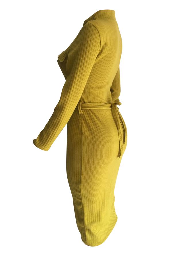 Vestido De Media Caña De Manga Larga De Poliéster Amarillo Euramerican