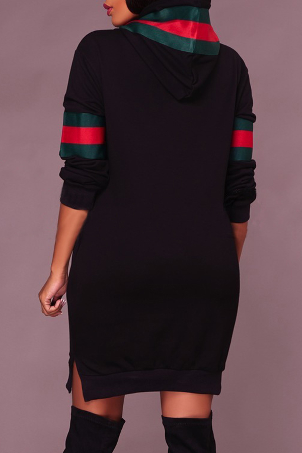 Leisure Hooded Collar Patchwork Black Polyester Mini Dress
