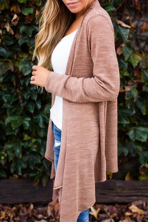 Euramerican Turndown Collar Long Sleeves Asymmetrical Cotton Blends Cardigans