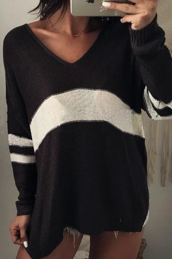 Euramerican V Neck Long Sleeves Patchwork Black Wool Sweaters