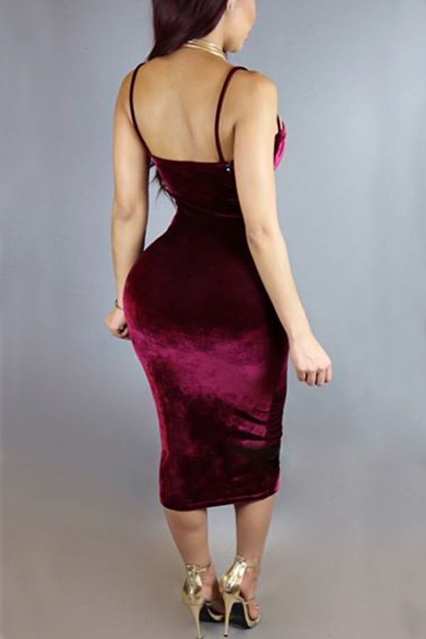 sexy hollow out wine red velvet sheath mid calf dress dresses lovelywholesale wholesale shoes. Black Bedroom Furniture Sets. Home Design Ideas