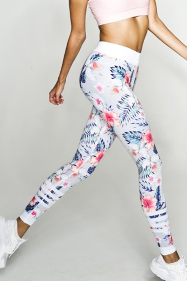 Euramerican High Waist Printed White Polyester Leggings