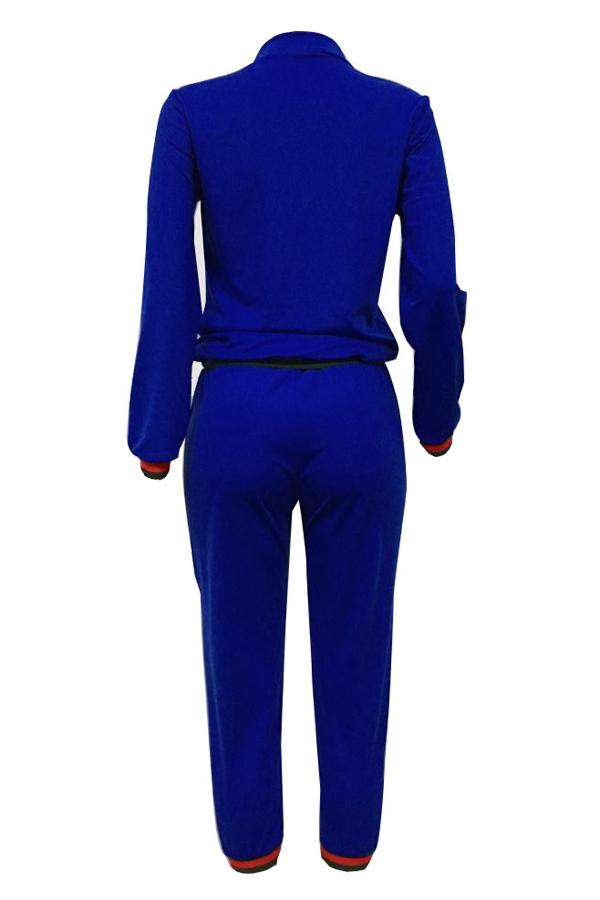 Leisure Zipper Design Dark Blue Knitting Two-piece Pants Set