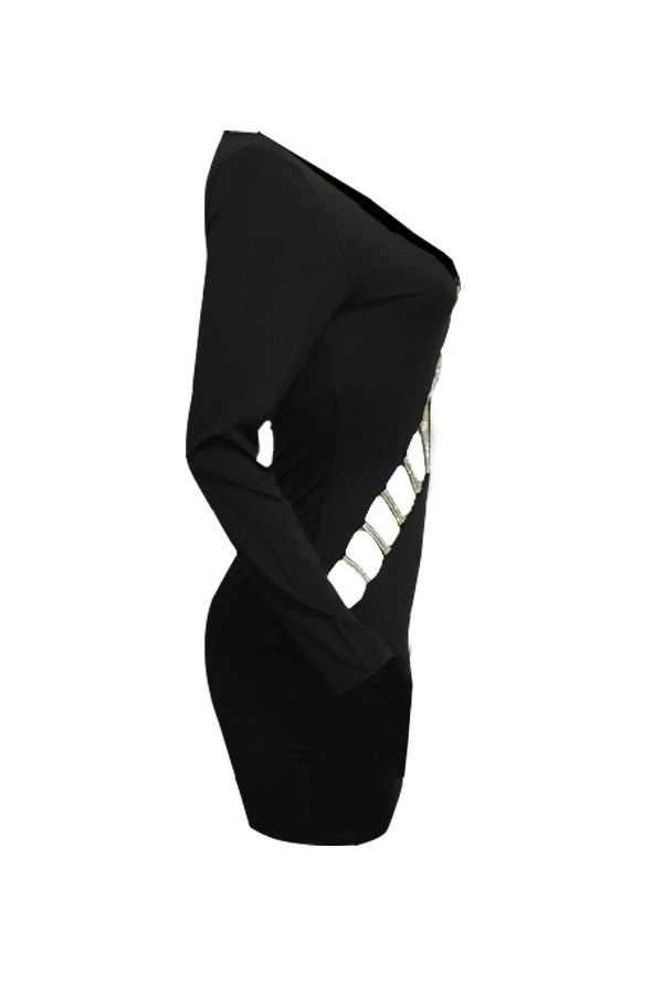 Sexy V Neck Hollow-out Black Milk Fiber Sheath Mini Dress