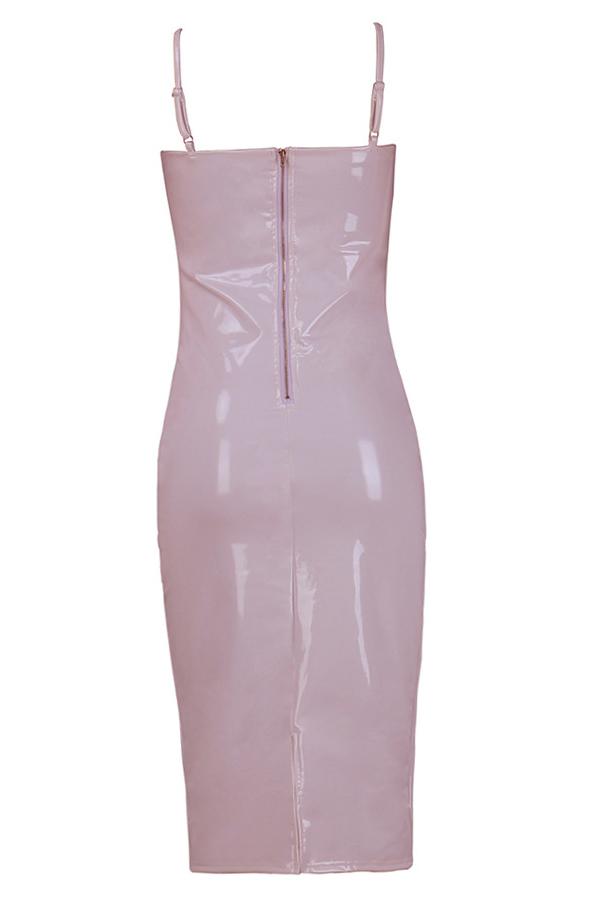 Sexy V Neck Zipper Design Pink Polyester Sheath Knee Length Dress