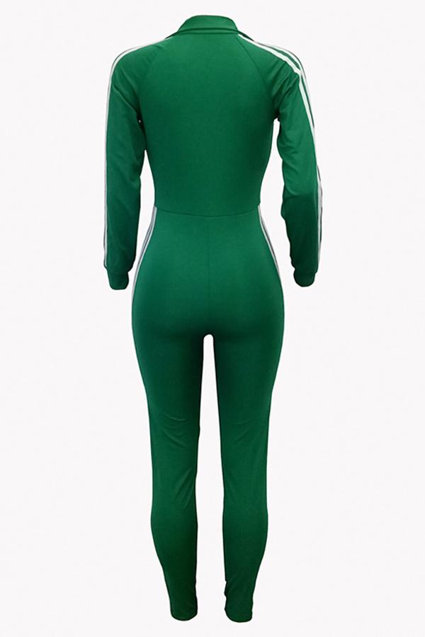 Euramerican Deep V Neck Zipper diseño verde poliéster mono de una pieza