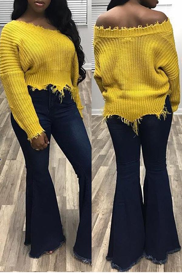 Euramerican V Neck Irregular Hems Yellow Lã Sueter