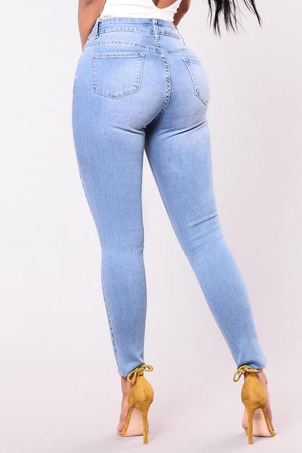 Moda Cintura Media Agujeros Rotos Bebé Azul Pantalones De Mezclilla