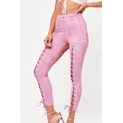 Fashion Elastic Waist Lace-up Pink Polyester Pants