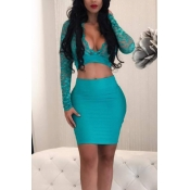 Sexy V Neck See-Through Blue Bud Silk Two-piece Skirt Set