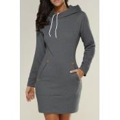 Leisure Long Sleeves Dark Grey Cotton Blends Hoodies