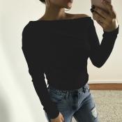 Camicie in cotone nero a spalla di rugiada