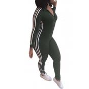 Tempo libero Slim Patchwork esercito verde poliestere un pezzo Jumpsuits