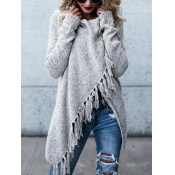 Lovely  Casual Tassel Design Grey Cardigan Sweater