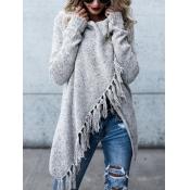 Lovely  Casual Tassel Design Grey Cardigan Sweater