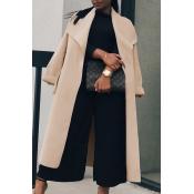 Trendy Turndown Collar Long Sleeves Light Tan Cott