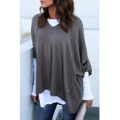 Casual Half Sleeves Asymmetrical Dark Grey Cotton