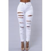 Stylish High Waist Broken Holes White Denim Pants