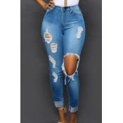 Elegante cintura alta agujeros rotos pantalones de color azul claro