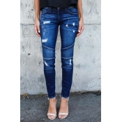 Euramerican Patchwork Dark Blue Denim Pants