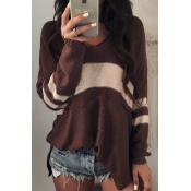 Euramerican V Neck Long Sleeves Patchwork Chocolat