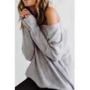Stylish Dew Shoulder Grey Blending Sweaters