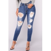 Trendy High Waist Broken Holes Dark Blue Denim Pan