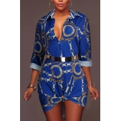 Trendy Turndown Collar Printed Blue Healthy Fabric Mini Dress(Without Belt)