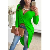 Sexy V Neck Asymmetrical Green Blending Shirts