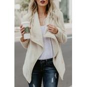 Lovely Euramerican Long Sleeves Beige Woolen Long
