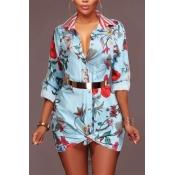 Trendy Umlegekragen gedruckt hellblau gesundes Gewebe Minikleid (ohne Gürtel)