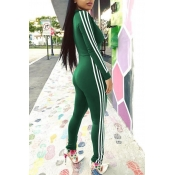 Euramerican Deep V Neck Zipper Design Green Polyester One-piece Jumpsuits