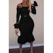 Sexy Bateau Neck Falbala Design Black Velvet Ankle Length Dress