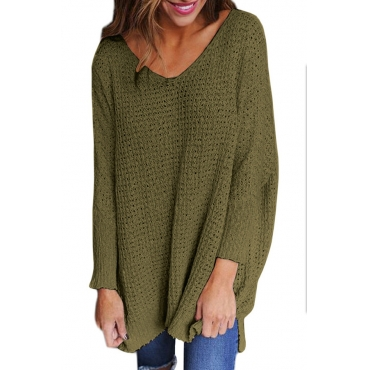 Lovely Blending V Neck Long Sleeve Regular Pullovers Sweaters