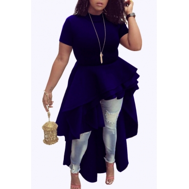 Stylish Mandarin Collar Asymmetrical Falbala Design Blue Polyester Mid Calf Dress