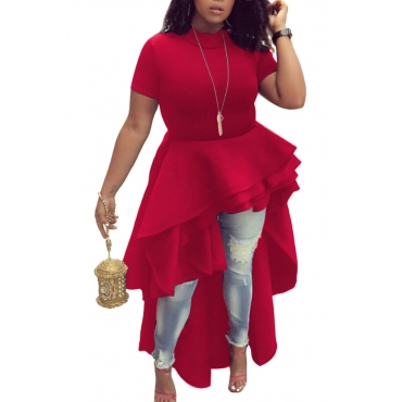 Stylish Mandarin Collar Asymmetrical Falbala Design Red Polyester Mid Calf Dress