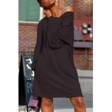Leisure Dew Shoulder Black Cotton Blend Knee Length Dress